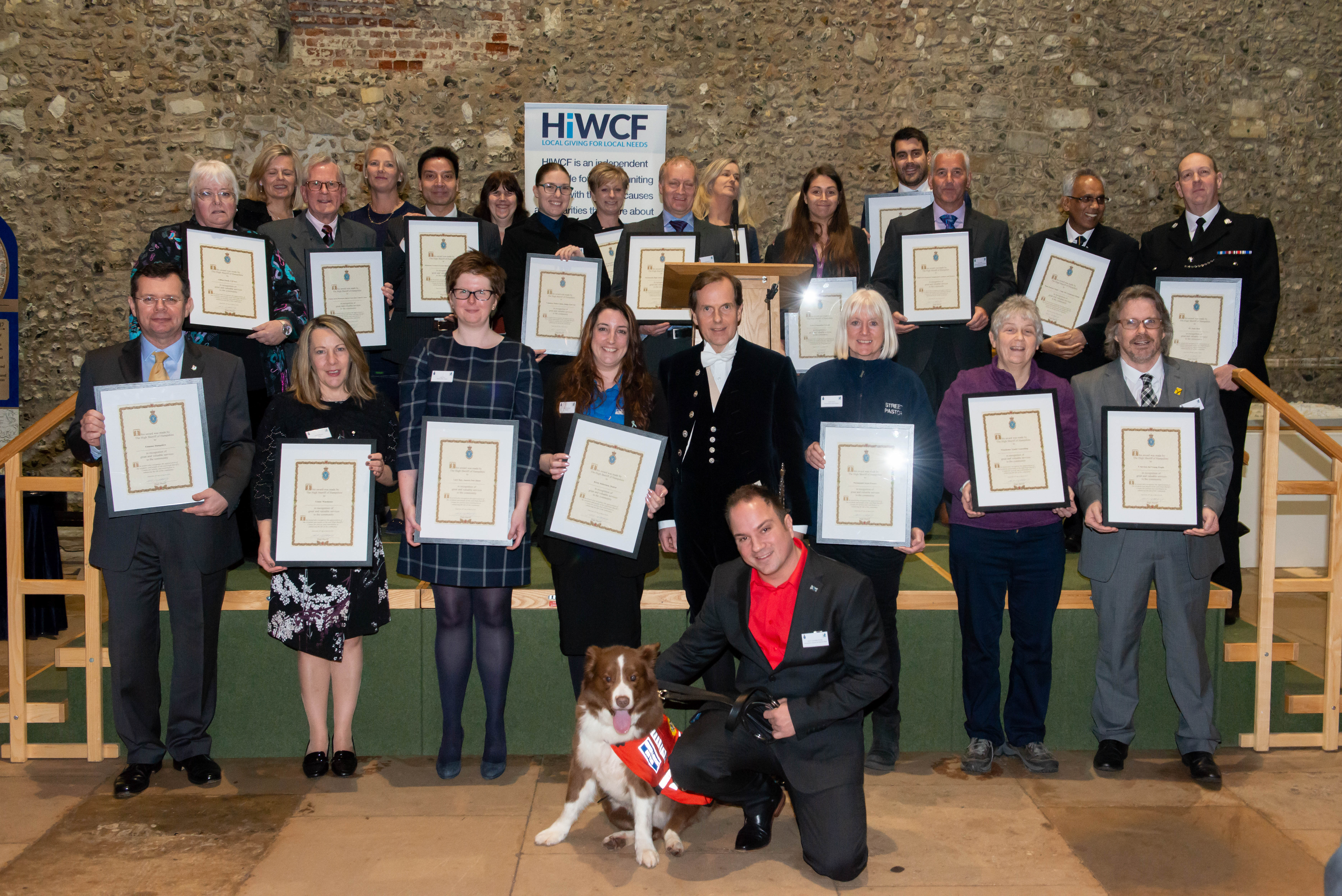 Kev Saunders wins Hampshire High Sheriff Award for 'Going beyond the Call of Duty'  (Pictured: Kev Saunders & Search Dog Zak from Hampshire Search & Rescue Dogs)
